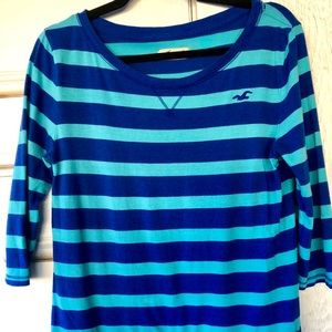 Hollister Tunic Top in cobalt & turquoise stripes